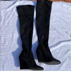 Via Spiga Black Suede OTK Wedge Heel Boots